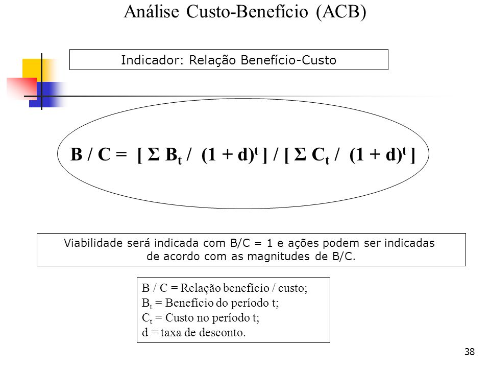 B / C = [ Σ Bt / (1 + d)t ] / [ Σ Ct / (1 + d)t ]